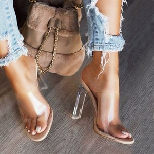 NEW🔥 Nude Clear Open Toe High Heel Mules Sandals